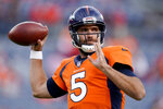 Denver Broncos quarterback Joe Flacco (5) warms up prior to an NFL football game against the Kansas City Chiefs, Thursday, Oct. 17, 2019, in Denver. (AP Photo/Jack Dempsey)