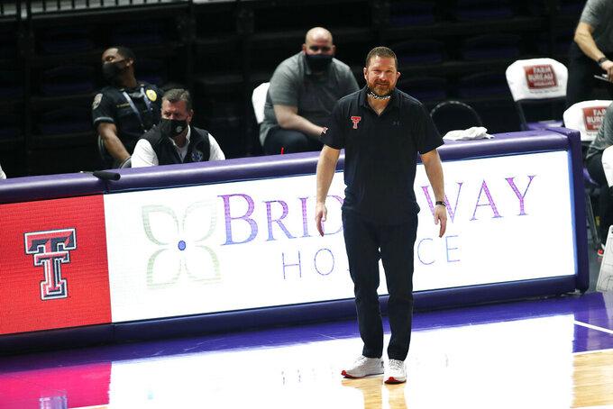Texas Tech head coach Chris Beard reacts to a call in the second half of an NCAA college basketball game against LSU in Baton Rouge, La., Saturday, Jan. 30, 2021. Texas Tech won 76-71. (AP Photo/Tyler Kaufman)