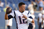 New England Patriots quarterback Tom Brady warms up before a preseason NFL football game against the Tennessee Titans Saturday, Aug. 17, 2019, in Nashville, Tenn. (AP Photo/Mark Zaleski)