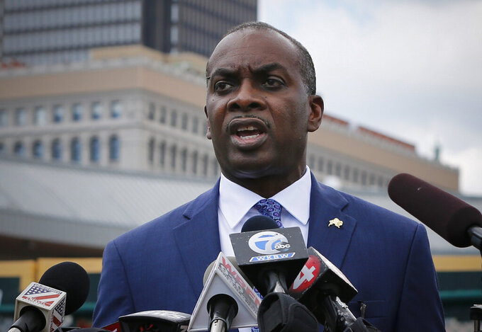 FILE - This Friday July 24, 2020 file photo shows Buffalo Mayor Byron Brown during a press conference in Buffalo N.Y. After losing Democratic primary to self-described socialist India Walton, Brown is staying in the race as a write-in candidate. (AP Photo/Jeffrey T. Barnes, File)