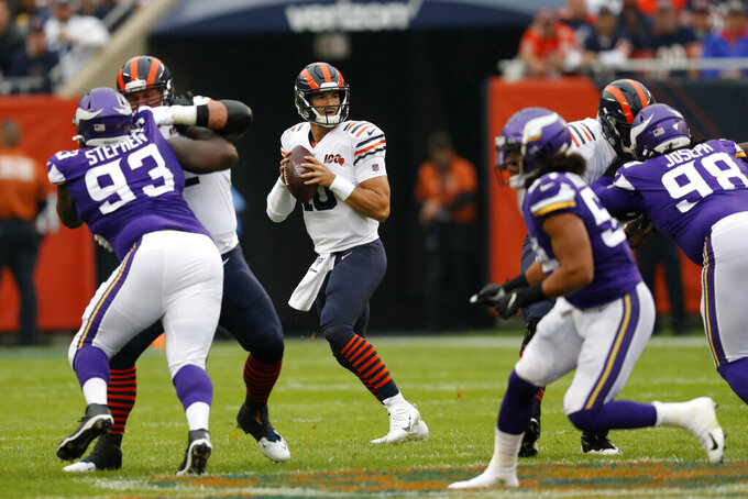 Chicago Bears quarterback Mitchell Trubisky (10) drops back to pass during the half of an NFL football game against the Minnesota Vikings Sunday, Sept. 29, 2019, in Chicago. (AP Photo/Charles Rex Arbogast)