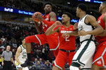 Ohio State's Andre Wesson (24) grabs a rebound during the first half of an NCAA college basketball game against Michigan State in the quarterfinals of the Big Ten Conference tournament, Friday, March 15, 2019, in Chicago. (AP Photo/Kiichiro Sato)