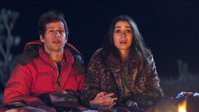 This image released by Hulu shows Andy Samberg, left, and Cristin Milioti in a scene from the film