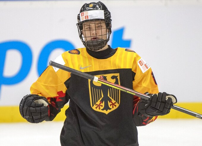 Germany's Tim Stutzle skates during first period action against Canada at the World Junior Hockey Championships in Ostrava, Czech Republic, Monday, Dec. 30, 2019. Stutzle is a top prospect in the upcoming NHL Draft. (Ryan Remiorz/The Canadian Press via AP)