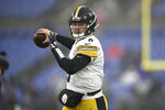 Pittsburgh Steelers quarterback Devlin Hodges works out prior to an NFL football game against the Baltimore Ravens, Sunday, Dec. 29, 2019, in Baltimore. (AP Photo/Gail Burton)