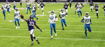 Minnesota Vikings running back Dalvin Cook (33) scores on a touchdown run during an NFL football game against the Detroit Lions, Sunday, Nov. 8, 2020 in Minneapolis. (Jerry Holt/Star Tribune via AP)