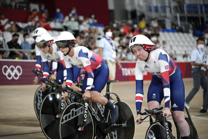 Team Britain competes during track cycling women's team pursuit at the 2020 Summer Olympics, Monday, Aug. 2, 2021, in Izu, Japan. (AP Photo/Christophe Ena)
