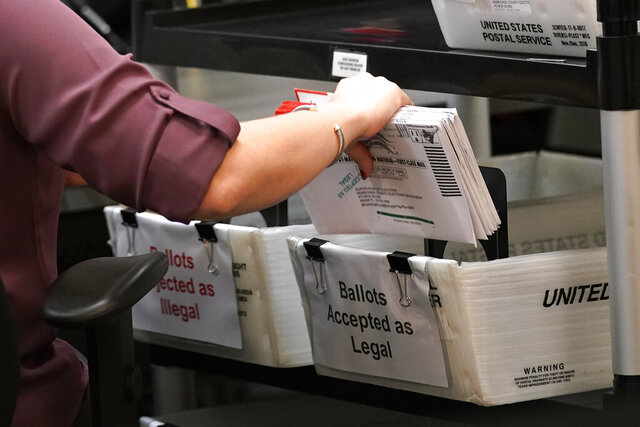 FILE - In this Oct. 26, 2020, file photo, an election worker sorts vote-by-mail ballots at the Miami-Dade County Board of Elections, in Doral, Fla. On Friday, Oct. 30, 2020, The Associated Press reported on stories circulating online incorrectly asserting that 23% of mail-in ballots have been rejected for missing signatures in Florida's Miami-Dade County. The correct number is about 0.5%. (AP Photo/Lynne Sladky, File)