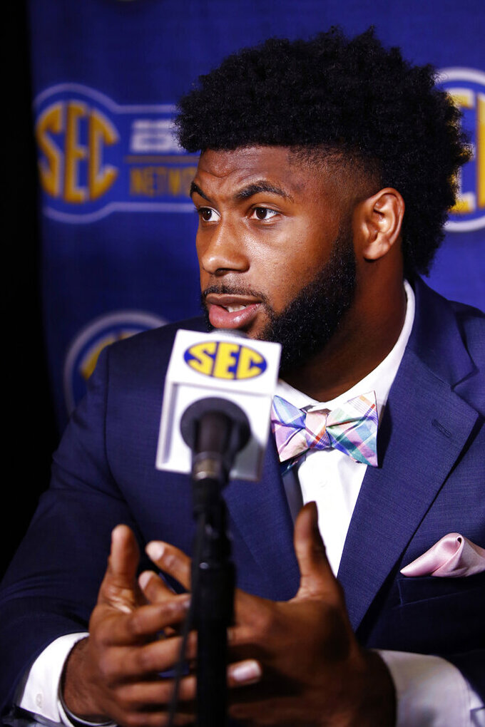 Florida running back Lamical Perine speaks during the NCAA college football Southeastern Conference Media Days, Monday, July 15, 2019, in Hoover, Ala. (AP Photo/Butch Dill)
