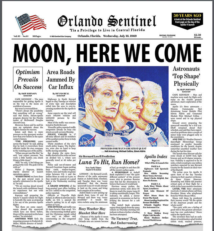 This image shows the Tuesday, July 16, 2019 front page of the Orlando Sentinel newspaper, commemorating the issue 50 years ago when NASA astronauts blasted into space on their first attempt to land on the moon. (Orlando Sentinel via AP)