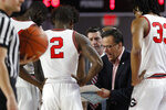 Georgia coach Tom Crean speaks with his team during a timeout in an NCAA college basketball game against Mississippi in Athens, Ga., on Saturday, Feb. 9, 2019. (Joshua L. Jones/Athens Banner-Herald via AP)
