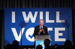 FILE - In this June 6, 2019, file photo, Democratic presidential candidate former Vice President Joe Biden speaks during the