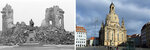 A combination of two pictures of the same scene over 50 years apart, with left showing the ruin of the Frauenkirche Cathedral (Church of Our Lady) in Dresden, Germany, pictured on March 13, 1967 and right the same cathedral pictured Tuesday, Feb. 11, 2020, two days before the 75th anniversary of the Allied bombing of Dresden during WWII.  British and U.S. bombers on Feb. 13-14, 1945 destroyed Dresden's centuries-old baroque city center, that is now restored.. (left: AP Photo, right: AP Photo/Jens Meyer)