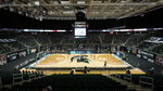 Michigan State and Iowa play in the first half of an NCAA college basketball game at the Breslin Center in East Lansing, Mich., Saturday, Feb. 13, 2021. (AP Photo/Paul Sancya)