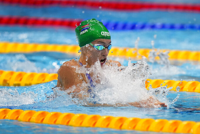 Tatjana Schoenmaker, of South Africa, competes in the women's 200-meter breaststroke final at the 2020 Summer Olympics, Friday, July 30, 2021, in Tokyo, Japan. (AP Photo/Jae C. Hong)