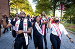 Members of the Winston-Salem State University 2020 Homecoming Court chant