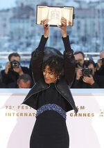 FILE - This May 25, 2019 file photo shows director Mati Diop, winner of the grand prix Palme d'Or award for the film