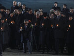 Holocaust survivor Marian Turski, center with cane, Duchess of Cornwall Camilla Parker-Bowles, far left top, King of the Netherlands Willem-Alexander and Queen Maxima, left, King of Spain Filipe VI and Queen Letizia, far right, King of Belgium Philippe and Queen of Belgium Mathilde, center, attend commemorations at the Auschwitz Nazi death camp in Oswiecim, Poland, Monday, Jan. 27, 2020. Survivors of the Auschwitz-Birkenau death camp gathered for commemorations marking the 75th anniversary of the Soviet army's liberation of the camp, using the testimony of survivors to warn about the signs of rising anti-Semitism and hatred in the world today. (AP Photo/Czarek Sokolowski)