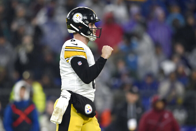 Pittsburgh Steelers quarterback Devlin Hodges reacts after running back Benny Snell scored a rushing touchdown against the Baltimore Ravens during the first half of an NFL football game, Sunday, Dec. 29, 2019, in Baltimore. (AP Photo/Gail Burton)