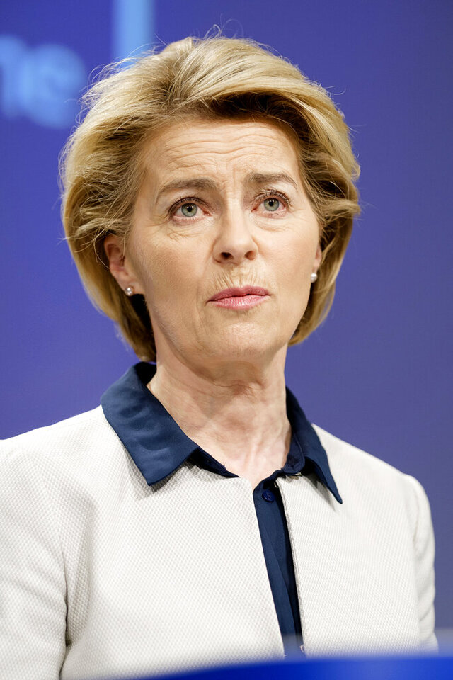 European Commission President Ursula von der Leyen speaks during a media conference at EU headquarters in Brussels, Friday, March 13, 2020. The European Union on Friday urged member countries to put in place health screening measures at their borders to slow the spread of the novel coronavirus, but warned them to coordinate their actions to ensure that people affected can still quickly get the health care they need. For most people, the new coronavirus causes only mild or moderate symptoms, such as fever and cough. For some, especially older adults and people with existing health problems, it can cause more severe illness, including pneumonia. (AP Photo/Thierry Monasse)
