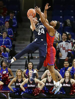 Villanova guard Joe Cremo, left, intercepts a pass against DePaul guard Eli Cain during the first half of an NCAA college basketball game Wednesday, Jan. 30, 2019, in Chicago. (AP Photo/Nam Y. Huh)