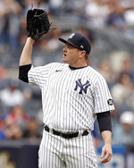 New York Yankees pitcher Justin Wilson reacts during the sixth inning of a baseball game against the New York Mets on Saturday, July 3, 2021, in New York. (AP Photo/Adam Hunger)