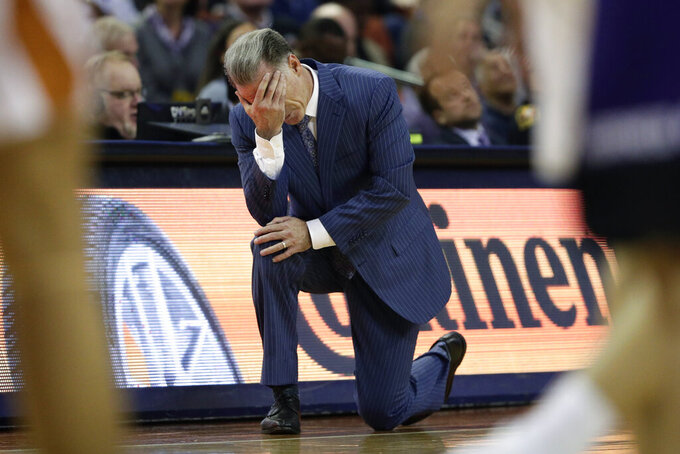 TCU head coach Jamie Dixon reacts to a play during the second half of an NCAA college basketball game against Texas in Austin, Texas, Wednesday, Feb. 19, 2020. (AP Photo/Eric Gay)