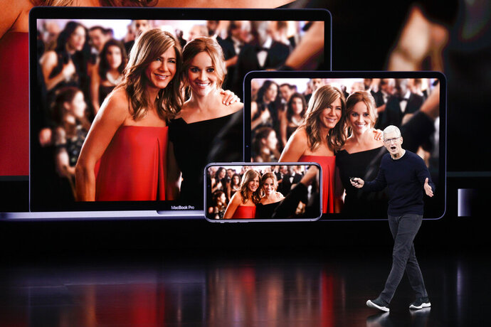 Apple CEO Tim Cook announces new products at an event Tuesday, Sept. 10, 2019, in Cupertino, Calif. (AP Photo/Tony Avelar)