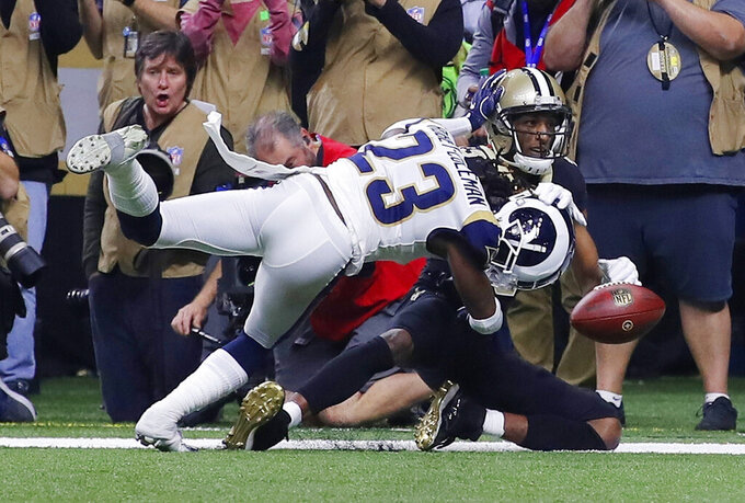 Los Angeles Rams' Nickell Robey-Coleman breaks up a pass intended for New Orleans Saints' Michael Thomas during the second half of the NFL football NFC championship game, Sunday, Jan. 20, 2019, in New Orleans. (AP Photo/Carolyn Kaster)