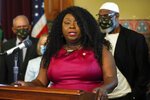 Betty Andrews, president of the Iowa-Nebraska NAACP, speaks after Iowa Gov. Kim Reynolds signed an executive order granting convicted felons the right to vote during a signing ceremony, Wednesday, Aug. 5, 2020, at the Statehouse in Des Moines, Iowa. (AP Photo/Charlie Neibergall)