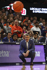 Virginia coach Tony Bennett watches during the team's NCAA college basketball game against Boston College on Wednesday, Feb. 19, 2020, in Charlottesville, Va. (Erin Edgerton/The Daily Progress via AP)