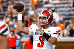 Bowling Green quarterback Matt McDonald warms up for the team's NCAA college football game against Tennessee on Thursday, Sept. 2, 2021, in Knoxville, Tenn. (AP Photo/Wade Payne)