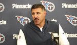 Tennessee Titans head coach Mike Vrabel speaks at a news conference after this team defeated the Cleveland Browns in an NFL football game Sunday, Sept. 8, 2019, in Cleveland. (AP Photo/Ron Schwane)