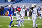 Indianapolis Colts kicker Rodrigo Blankenship (3) and Rigoberto Sanchez (8) react after Blankenship missed a field goal an during the second half of an NFL wild-card playoff football game against the Buffalo Bills Saturday, Jan. 9, 2021, in Orchard Park, N.Y. (AP Photo/Adrian Kraus)
