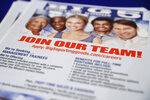 FILE - In this Aug. 24, 2017, file photo, a flyer advertises job openings during a job fair in San Jose, Calif. California officials announced Friday, Aug. 16, 2019, that job growth in the world's fifth largest economy is now in its 113th month, tying the expansion of the 1960s as the longest on record. The country's most populous state needs between 8,000 and 9,000 new jobs each month to keep up with its growing workforce. But for the past nine years, California has averaged 29,200 new jobs each month, according numbers released Friday by the state Employment Development Department. (AP Photo/Marcio Jose Sanchez, File)