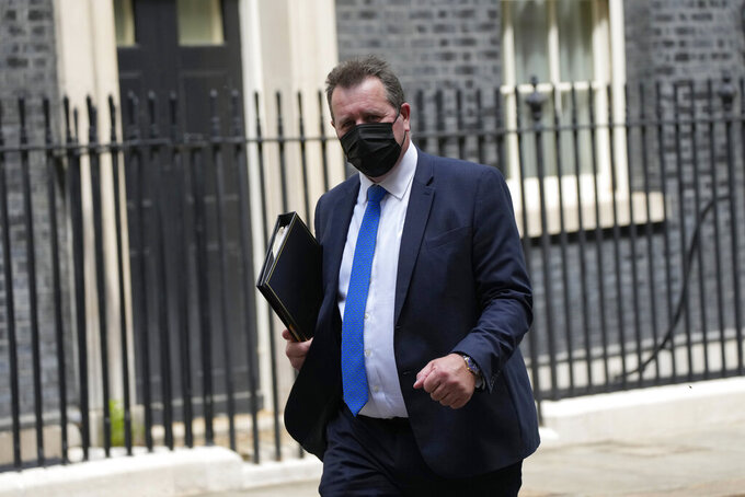Britain's Chief Whip Mark Spencer leaves 10 Downing Street, in London, Monday, June 7, 2021. Senior Lawmakers from Britain's governing Conservative Party are hoping to reverse the government's contentious cut in foreign aid spending — just days before Prime Minister Boris Johnson welcomes world leaders to the country for a Group of Seven summit. (AP Photo/Matt Dunham)