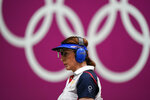 Nino Salukvadze, of Georgia, competes in the women's 10-meter air pistol at the Asaka Shooting Range in the 2020 Summer Olympics, Sunday, July 25, 2021, in Tokyo, Japan. (AP Photo/Alex Brandon)