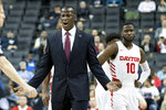 Dayton head coach Anthony Grant reacts during the first half of an NCAA college basketball game against the Saint Louis in the Atlantic 10 Conference tournament, Friday, March 15, 2019, in New York. (AP Photo/Mary Altaffer)