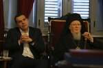 Greece's Prime Minister Alexis Tsipras, right, and Ecumenical Patriarch Bartholomew I attend a ceremony during their visit at the Theological School of Halki, in Heybeli Island, near Istanbul, Wednesday, Feb. 6, 2019. The president of Turkey and the prime minister of Greece agreed Tuesday on the need to keep