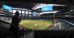In this photo made Thursday, July 23, 2020, a deck view is seen during a tour of the new Texas Rangers home baseball stadium Globe Life Field in Arlington, Texas. The Texas Rangers' new stadium isn't retro and designers wanted the first next-generation ballpark. There is the full-panel retractable roof, the split seating levels offering full views of the ballpark with plenty of natural light. (AP Photo/LM Otero)