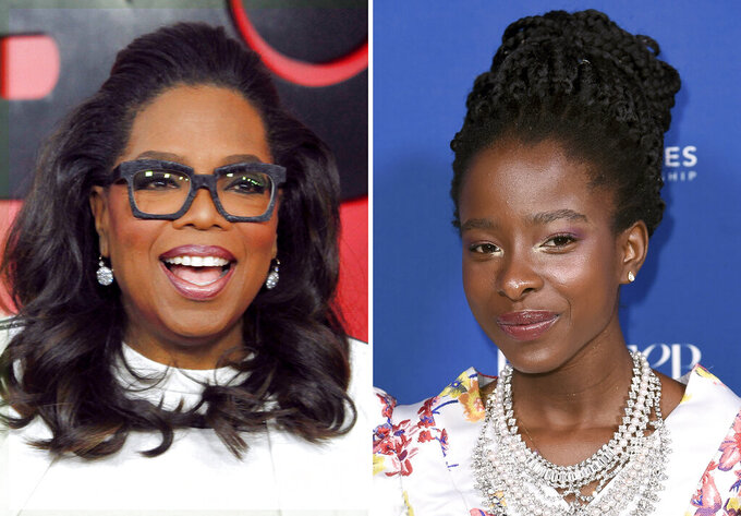 "In this combination photo, Oprah Winfrey, left, attends the premiere of ""The Immortal Life of Henrietta Lacks"" on April 18, 2017, in New York and Amanda Gorman attends Porter's 3rd annual Incredible Women Gala on Oct. 9, 2018, in Los Angeles. Gorman revisits her inaugural poem that wowed observers, among them Oprah Winfrey, in the Apple TV+ series ""The Oprah Conversation."" The interview will be released Friday, March 26, 2021, on the streaming service. (Photo by Andy Kropa/Invision/AP, left, and Richard Shotwell/Invision/AP, File)"