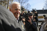 Democratic presidential candidate former Vice President Joe Biden greeting people at a Fire Fighter Chili and Canvass Kickoff in Concord, N.H. Saturday, Nov. 9, 2019: (AP Photo/ Cheryl Senter)