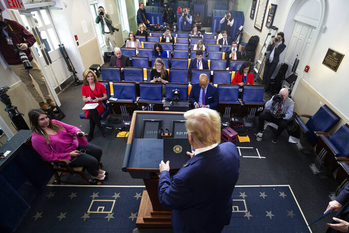 President Donald Trump arrives to speak about the coronavirus in the James Brady Press Briefing Room of the White House, Thursday, April 2, 2020, in Washington. (AP Photo/Alex Brandon)