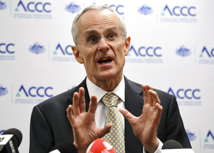 Australian Competition and Consumer Commission (ACCC) Chairman Rod Sims speaks during a media conference at the in Sydney, Tuesday, Oct. 29, 2019. The ACCC is taking Google to court alleging the technology giant broke consumer law by misleading Android users about how their location data was used. (Joel Carrett/AAP Image via AP)