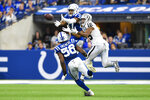 Indianapolis Colts safety Khari Willis (37) breaks up a pass intended for Oakland Raiders wide receiver Tyrell Williams (16) during the first half of an NFL football game in Indianapolis, Sunday, Sept. 29, 2019. (AP Photo/Doug McSchooler)
