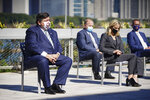 Gov. J.B. Pritzker listens to speakers during the signing of the state's Climate and Equitable Jobs Act at Shedd Aquarium in Chicago on Wednesday, Sept. 15, 2021. (Anthony Vazquez/Chicago Sun-Times via AP)