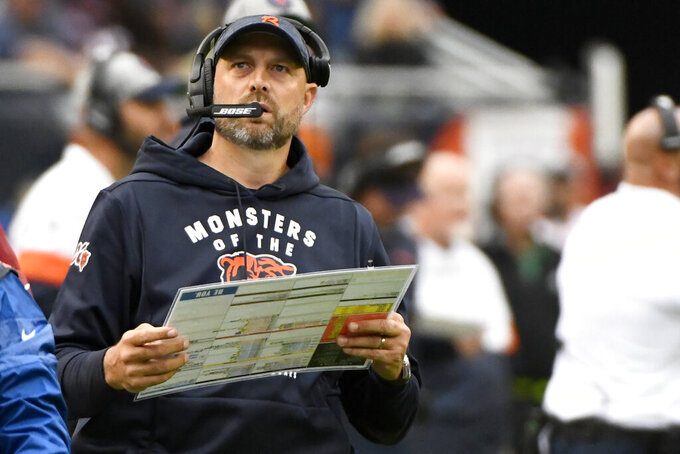 FILE - In this Sept. 29, 2019, file photo, Chicago Bears head coach Matt Nagy watches from the sidelines during the first half of an NFL football game against the Minnesota Vikings, in Chicago. Nagy indicated quarterback Mitchell Trubisky might be ready to return against the Saints. But whether it's him or Chase Daniel behind center, the Bears have to figure out a way to get their ground game going. (AP Photo/Matt Marton, File)