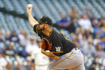 Pittsburgh Pirates starting pitcher Bryse Wilson throws to the Milwaukee Brewers during the first inning of a baseball game Monday, Aug. 2, 2021, in Milwaukee. (AP Photo/Jeffrey Phelps)