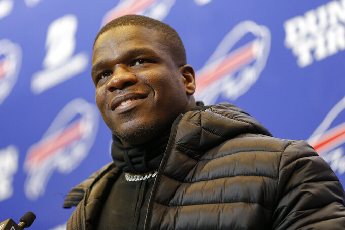 Buffalo Bills running back Frank Gore (20) answers questions during a news conference after the Bills beat the Denver Broncos 20-3 in an NFL football game, Sunday, Nov. 24, 2019, in Orchard Park, N.Y. (AP Photo/John Munson)