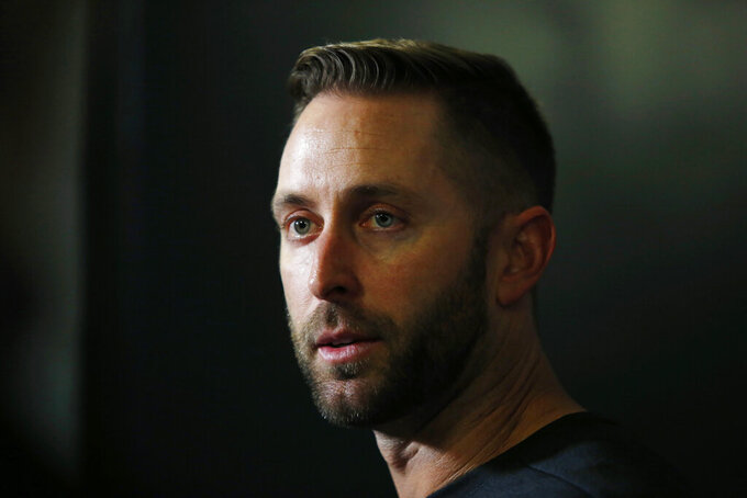 Arizona Cardinals head coach Kliff Kingsbury speaks during a news conference after an NFL preseason football game against the Minnesota Vikings, Saturday, Aug. 24, 2019, in Minneapolis. The Vikings won 20-9. (AP Photo/Bruce Kluckhohn)